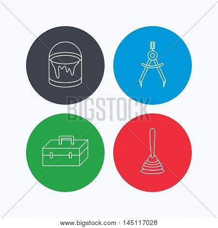 Measurement, plunger and repair toolbox icons. Bucket of paint linear sign. Linear icons on colored buttons. Flat web symbols. Vector