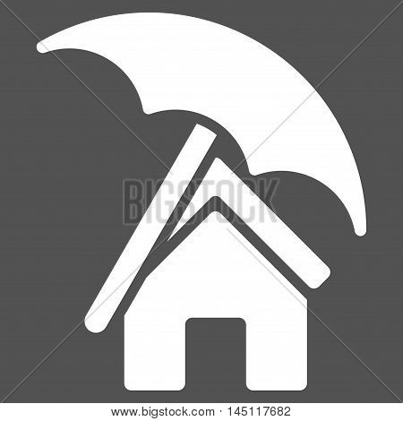 Home under Umbrella icon. Vector style is flat iconic symbol, white color, gray background.