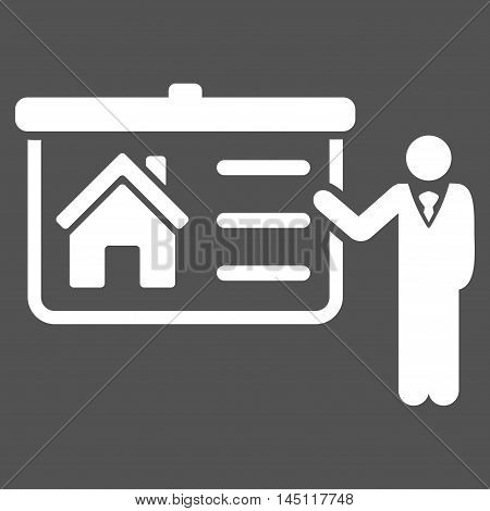House Presentation icon. Vector style is flat iconic symbol, white color, gray background.