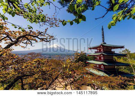 Mt. Fuji with red Chureito pagoda in Fujiyoshida, Japan