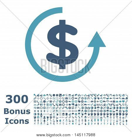 Refund icon with 300 bonus icons. Glyph illustration style is flat iconic bicolor symbols, cyan and blue colors, white background.