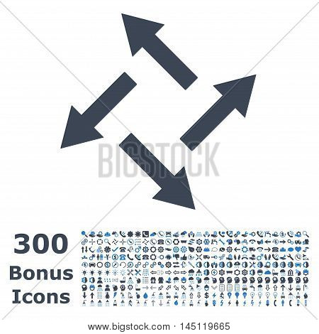 Centrifugal Arrows icon with 300 bonus icons. Glyph illustration style is flat iconic bicolor symbols, smooth blue colors, white background.