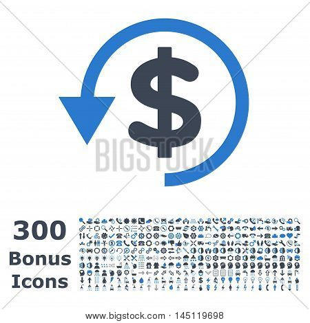 Chargeback icon with 300 bonus icons. Glyph illustration style is flat iconic bicolor symbols, smooth blue colors, white background.