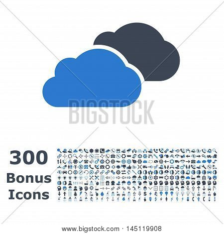 Clouds icon with 300 bonus icons. Glyph illustration style is flat iconic bicolor symbols, smooth blue colors, white background.