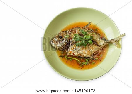 Thai Food, Deep-fried Fish And Chili Sauce On Dish. Isolated On White. Saved With Clipping Path