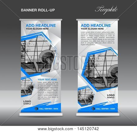 White and blue Roll up banner template vector, roll up stand, banner design, flyer, advertisement, polygon background, poster