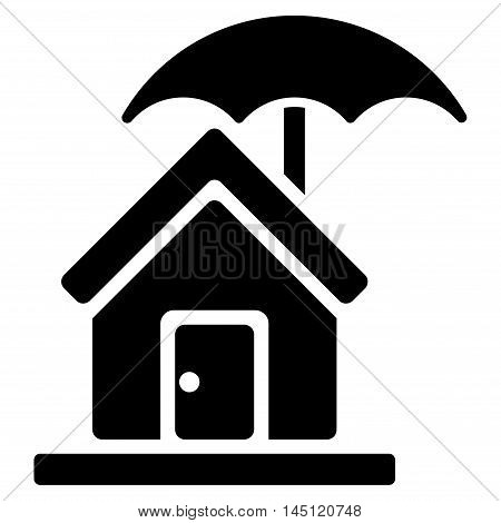 House under Umbrella icon. Vector style is flat iconic symbol, black color, white background.