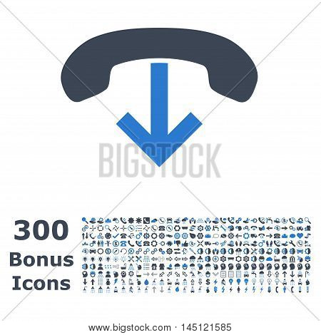 Phone Hang Up icon with 300 bonus icons. Glyph illustration style is flat iconic bicolor symbols, smooth blue colors, white background.