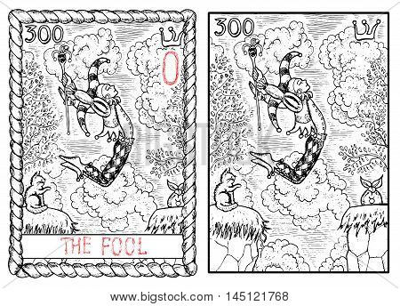 The fool. The major arcana tarot card, vintage hand drawn engraved illustration with mystic symbols. Man in costume of harlequin jumping through abyss. Joker and cat.