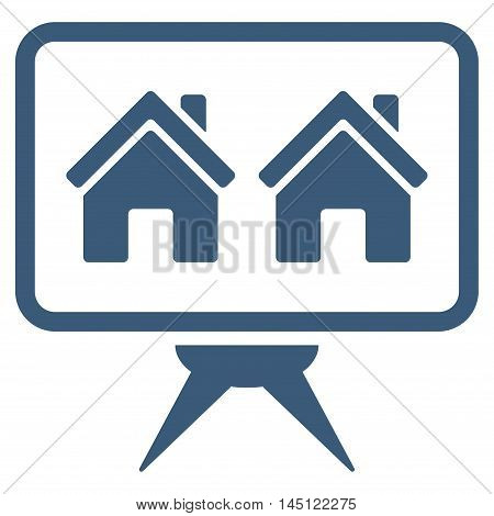 Realty Project icon. Vector style is flat iconic symbol, blue color, white background.