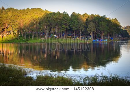 Sunshine at Pang-ung pine forest park in panorama view Mae Hong Son North of Thailand