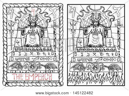 The emperor. The major arcana tarot card, vintage hand drawn engraved illustration with mystic symbols. Man in crown or king sitting on scary throne decorated with sculls and demons