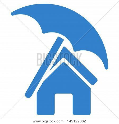 Home under Umbrella icon. Vector style is flat iconic symbol, cobalt color, white background.