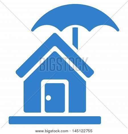 House under Umbrella icon. Vector style is flat iconic symbol, cobalt color, white background.
