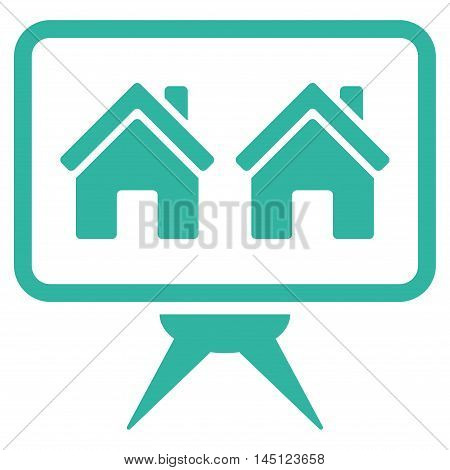 Realty Project icon. Vector style is flat iconic symbol, cyan color, white background.