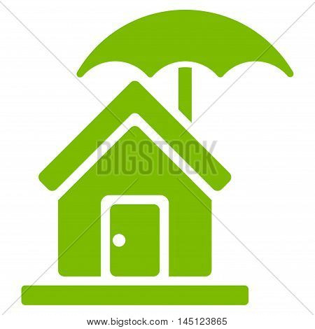 House under Umbrella icon. Vector style is flat iconic symbol, eco green color, white background.