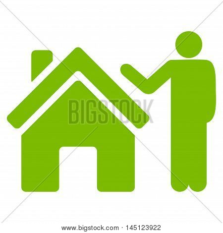 Realty Buyer icon. Vector style is flat iconic symbol, eco green color, white background.