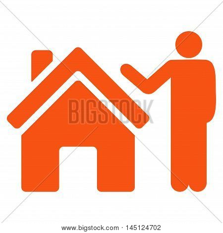 Realty Buyer icon. Vector style is flat iconic symbol, orange color, white background.