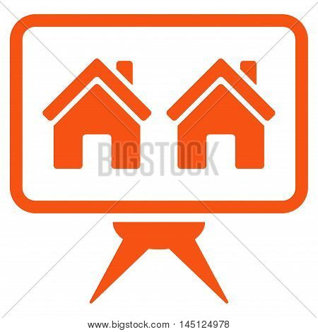 Realty Project icon. Vector style is flat iconic symbol, orange color, white background.