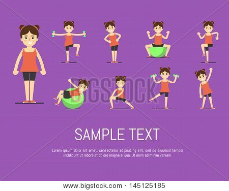 Smiling young girl doing exercises with dumbbells and fit ball, vector illustration set in flat style. Healthy lifestyle. Fitness people. Workout and gymnastics. Characters on purple background.