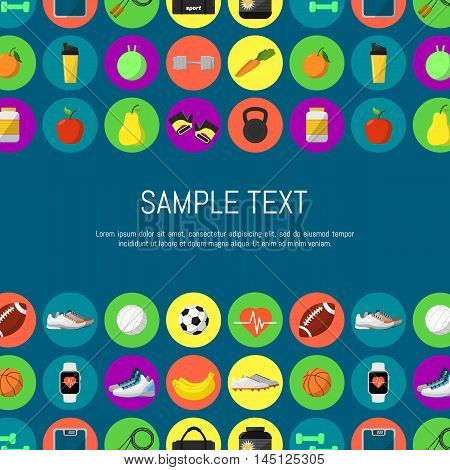 Sports and nutrition seamless pattern, vector illustration in flat style. Different athletic equipments and nutrition supplements icons in row on blue background. Space for your text