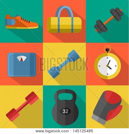 Vector illustration of gym sports equipment icons set. Boxing gloves, weight, bag, sports shoes, dumbbell, stopwatch and weigher on color background. Flat signs with long shadow