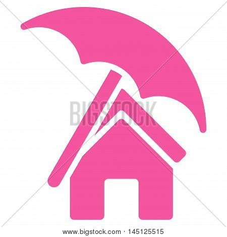 Home under Umbrella icon. Vector style is flat iconic symbol, pink color, white background.
