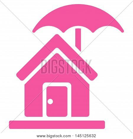 House under Umbrella icon. Vector style is flat iconic symbol, pink color, white background.