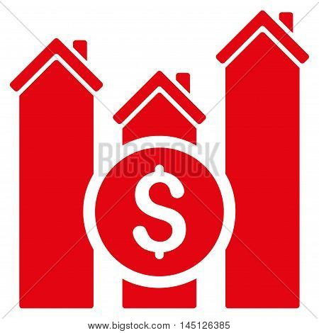 Realty Price Charts icon. Vector style is flat iconic symbol, red color, white background.
