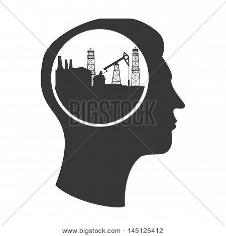 silhouette head tower oil  vector illustration eps 10