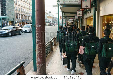 Kyoto Japan - December 2 2015:Schoolboys walking on Kyoto street.