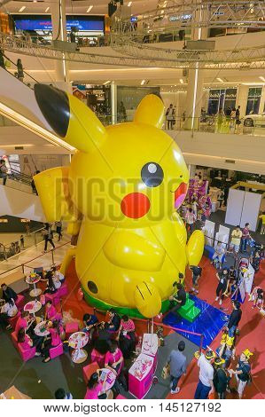Bangkok, Thailand- 10,January 2016 :Pikachu balloon in Pokemon Festival at Siam Paragon