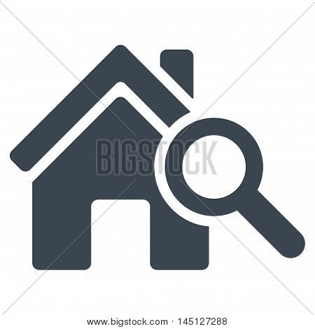 Explore House icon. Vector style is flat iconic symbol, smooth blue color, white background.
