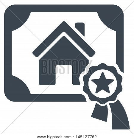 Realty Certification icon. Vector style is flat iconic symbol, smooth blue color, white background.