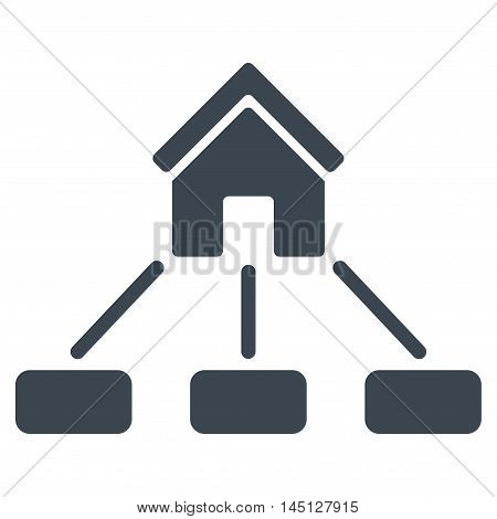 Realty Links icon. Vector style is flat iconic symbol, smooth blue color, white background.