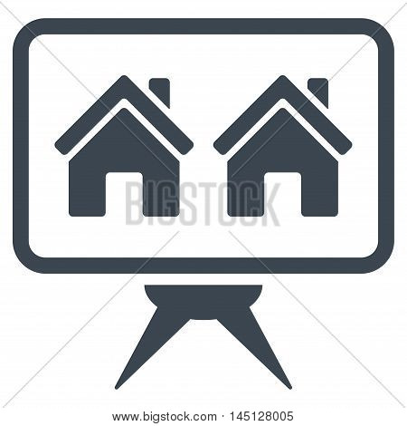 Realty Project icon. Vector style is flat iconic symbol, smooth blue color, white background.