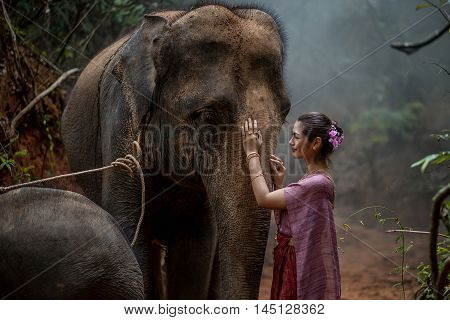 Beautiful Asian Woman Wears Thai Dress With Her Elephant, Elephant Village, Surin, Thailand