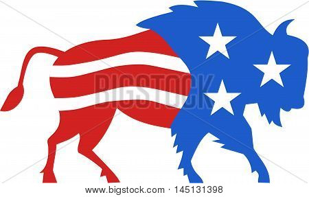 Illustration of an american bison buffalo bull with american stars and stripes flag as part of the body and head viewed from the side set on isolated white background done in retro style.