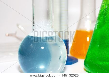 glass test tubes and retorts for chemistry