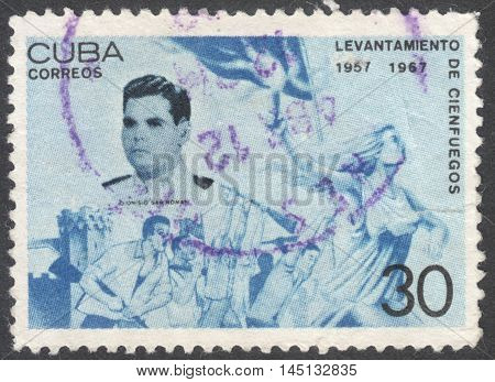 MOSCOW RUSSIA - CIRCA AUGUST 2016: a stamp printed in CUBA shows a portrait of Dionisio San Roman the series