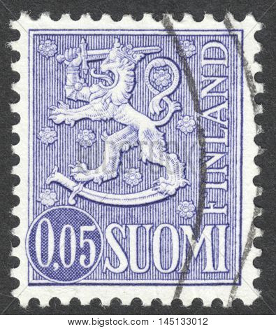 MOSCOW RUSSIA - CIRCA AUGUST 2016: a stamp printed in FINLAND shows the National arms emblem the series