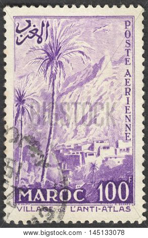 MOSCOW RUSSIA - CIRCA AUGUST 2016: a stamp printed in MOROCCO shows the village in the Anti-Atlas the series