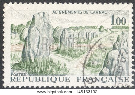MOSCOW RUSSIA - CIRCA AUGUST 2016: a stamp printed in FRANCE shows Alignments Kermario Carnac the series
