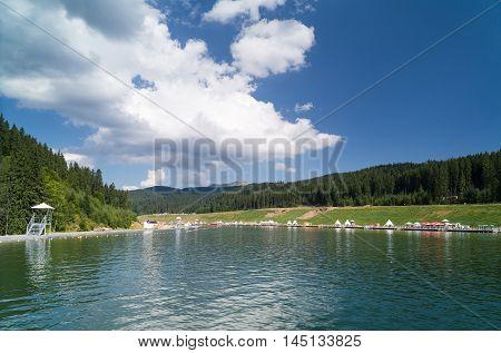 Artificial lake in the ski resort of Bukovel. Ukrainian Carpathians.