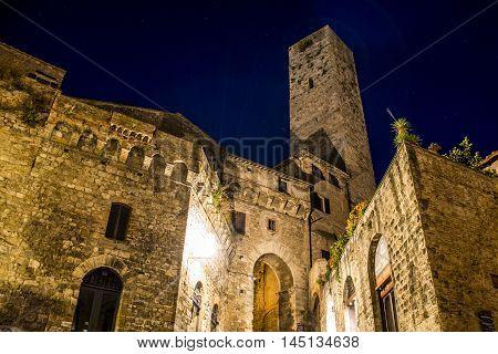 Romantic toscany city San Gimignano by night