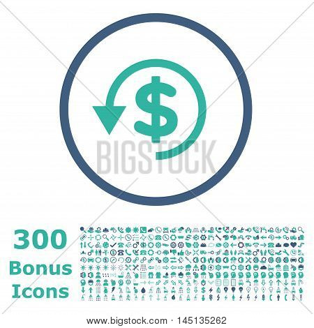 Chargeback rounded icon with 300 bonus icons. Glyph illustration style is flat iconic bicolor symbols, cobalt and cyan colors, white background.