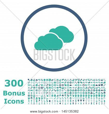 Clouds rounded icon with 300 bonus icons. Glyph illustration style is flat iconic bicolor symbols, cobalt and cyan colors, white background.