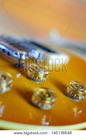 Electric guitar  sunburst rosewood close up instrument