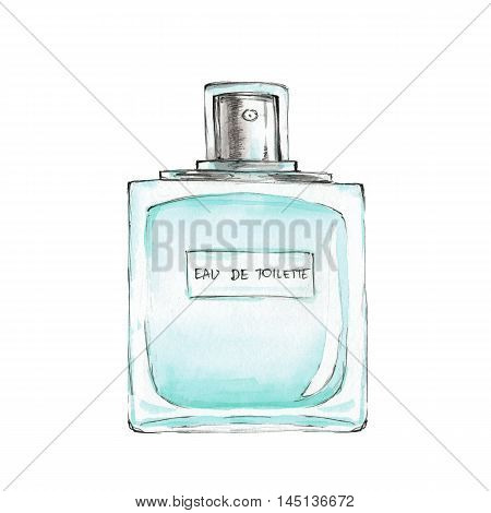 Bottle of perfume. Ink and watercolor sketch 3. Isolated on white background