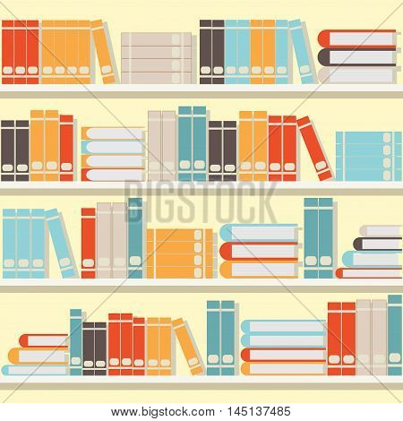 Colorful book on shelveslibrary or book store flat design vector illustration.